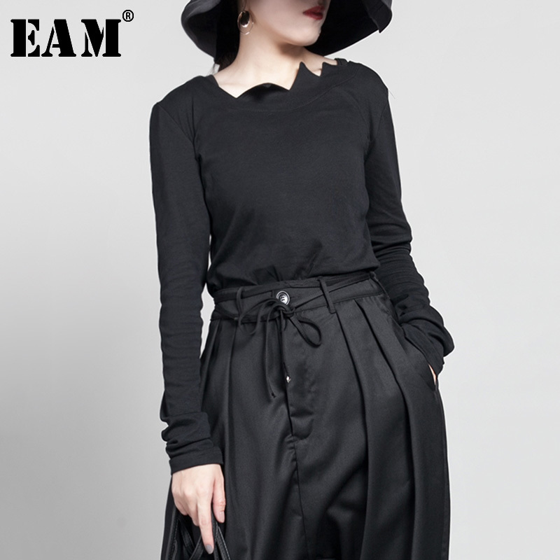 [EAM] 2019 New Spring Summer Round Neck Short Sleeve Black Hollow Out Split Joint Big Size T-shirt Women Fashion Tide JW045