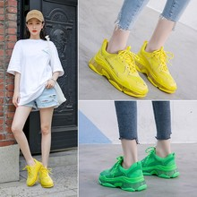 2019 Crystel Womens Chunky Sneakers Summer Breathable Mesh Casual Outdoor Sports Shoes Fluorescent Green Lace Dad Yellow
