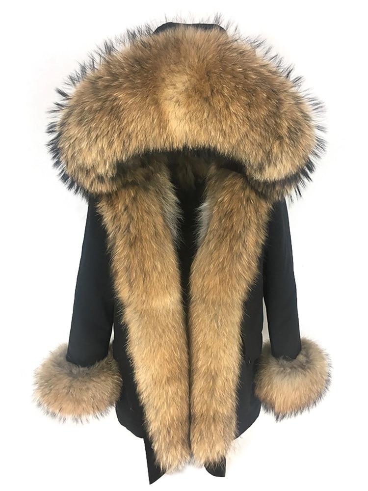 waterproof coat winter jacket women real fur coat long parka 100% natural raccoon fur hood fox fur liner thick warm streetwear