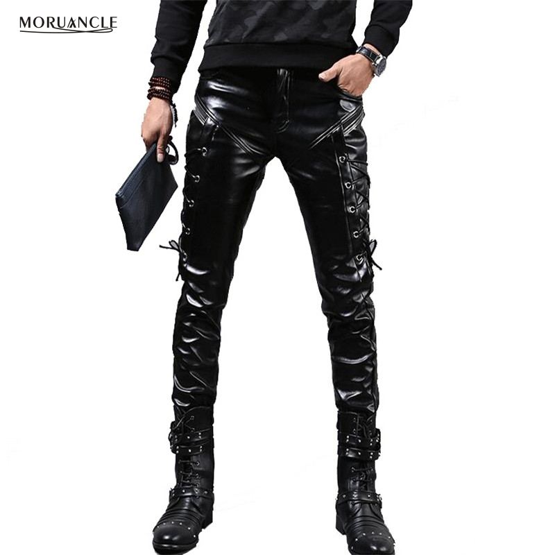 MORUANCLE New Winter Mens Skinny Biker Leather Pants Fashion Faux Leather Motorcycle Trousers For Male Stage Club Wear