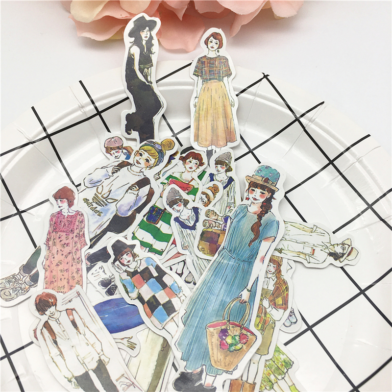 26pcs Street Fashion Girl Stickers Diary Label Stickers Pack Decorative Scrapbooking DIY Stickers