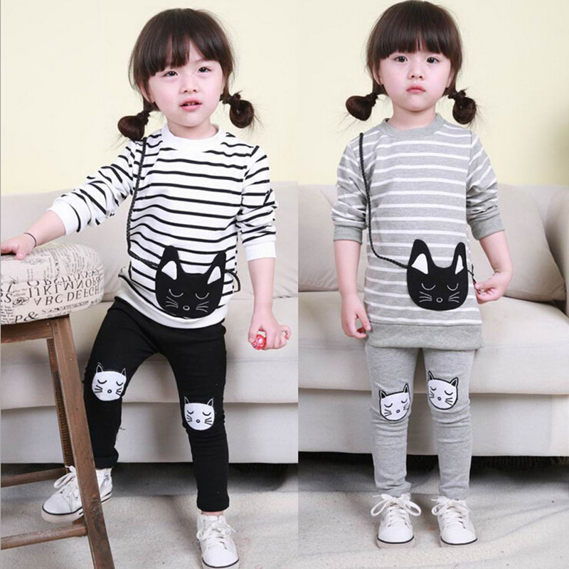 2017 New Baby & Children's Clothing Sleeve Long Sleeve Striped Kitty T-Shirt + Shorts 2 Girls Kids Set Children's Clothing 1-4Y