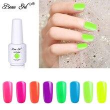 Beau Gel 8ml Fluorescent Color Neon Polish Nail Art Vernis Semi Permanant UV Varnish Soak Off Nails Lacquer
