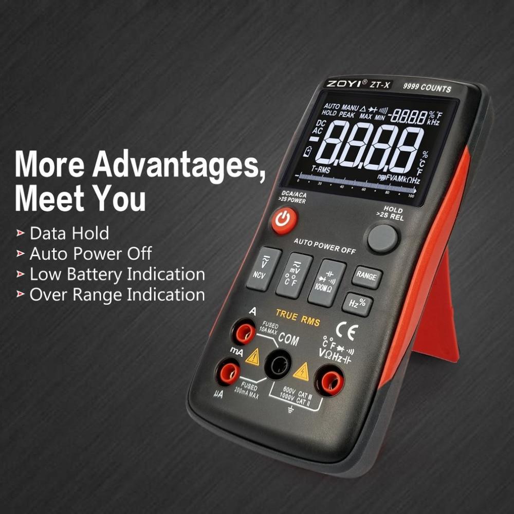 ZT-X цифровой мультиметр ac dc Вольтметр true rms Авто Диапазон мультиметр с НТС удержания данных ЖК-дисплей подсветка дисплей