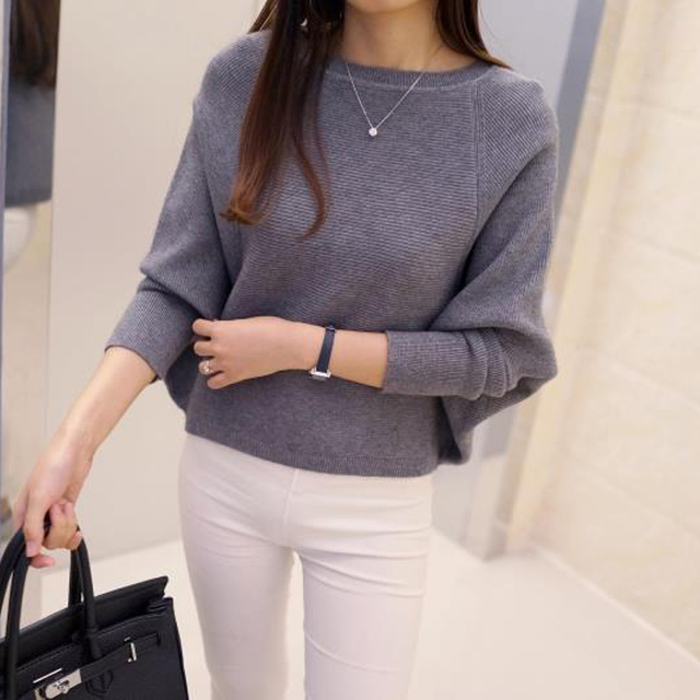 Fashion Korea Style Women Sweaters Batwing Low Collar loose Solid Color Sweater pullover Female sweter mujer pull femme