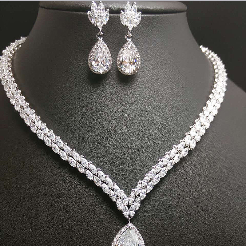 2017 New Water Drop Bridal Jewelry Sets Crystal Jewelry Set Four ...