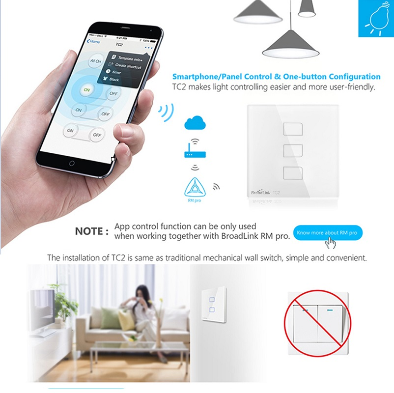 Newest Broadlink Rm pro+ Intelligent Remote Controller,433Mhz Touch Panel Wall Light Switch RM Pro Remote Control SP2 UK socket binge elec 16 buttons remote controller 433 92mhz only work as binge elec remote touch switch hot sale