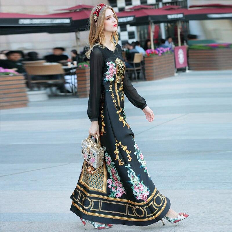 ახალი მაღალი ხარისხის პოდიუმის დიზაინერი 2018 წლის გაზაფხული ზაფხულის ქალთა წვეულება სანაპიროზე bohe Palace გრძელი ყდის hem ბეჭდვა გრძელი მაქსიმალური კაბა