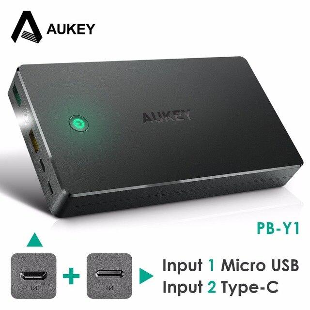 AUKEY 20000 мАч Power Bank Тип C & Micro USB Вход Быстро заряд 2.0 2 USB Портативный Внешний Аккумулятор Для Xiaomi iphone и т. д.