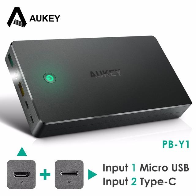 Aukey 20000 mah banco de la energía de carga rápida 2.0 de doble entrada/salida móvil portable externo de la batería para xiaomi iphone meizu huawei etc