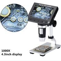 1000x 5.0MP USB Digital Electronic Microscope 4.3LCD Display VGA Microscope with 8LED and Stent for PCB Motherboard Repairing