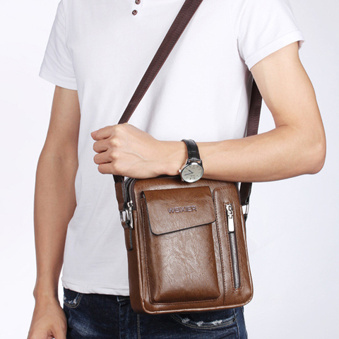 Casual Men Shoulder Bag Vintage Crossbody Bags High Quality Male Bag Leather Handbag Men Messenger Bags WBS510-2 Karachi
