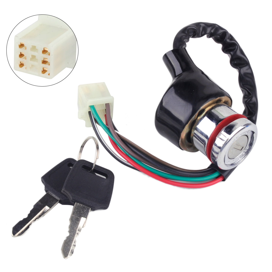 DWCX 6 Pin Car Motorcycle Ignition Switch 3 Position 6 Wire With 2 Keys for Scooter ATV Go Kart Harley Bobber Chopper Dirt Bike
