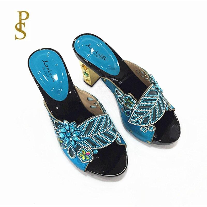 Image 2 - Женская обувь на высоком каблуке, красивая женская обувь со стразами, обувь для вечеринокТапочки   -