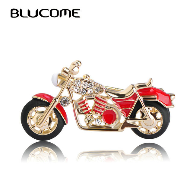 Blucome Fashion Motorcycle Brooch Gold-color Red Enamel Brooches Girls Kids Gift