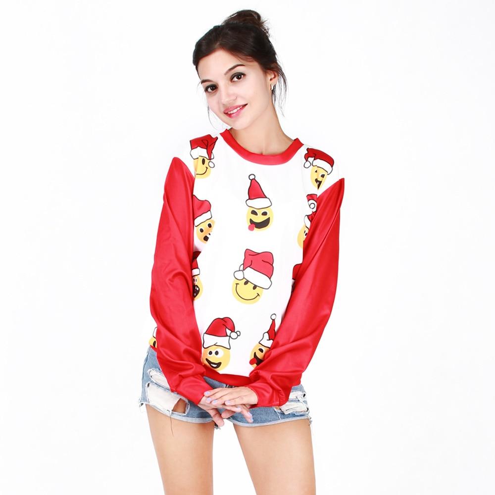 Unisex Lovely Christmas Hat Emojis 3D Printing Long-Sleeve Roud-Neck Hoodies Women Men Casual Top Mujer Free Size Couple Top