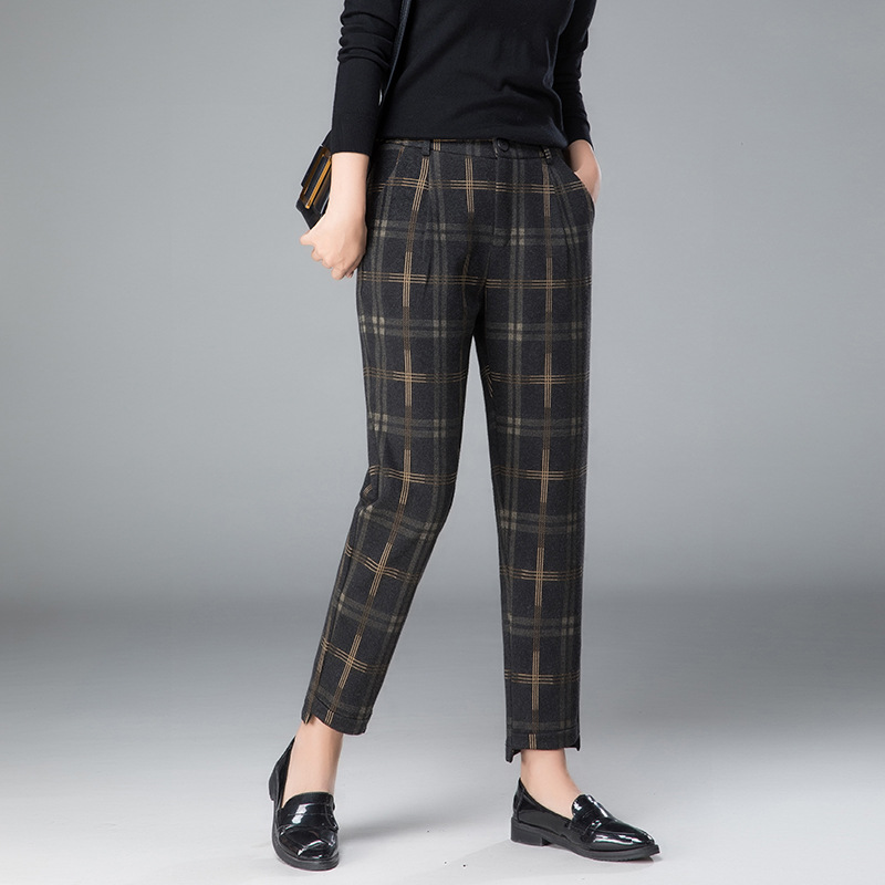 New Female Woolen Pencil Feet Pants For Autumn Winter High Waist Women Plaid British Pattern Harem