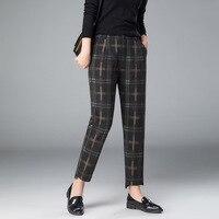 2018 New Female Woolen Pencil Feet Pants For Autumn Winter High Waist Women Plaid British Pattern Harem Pants Casual Trousers