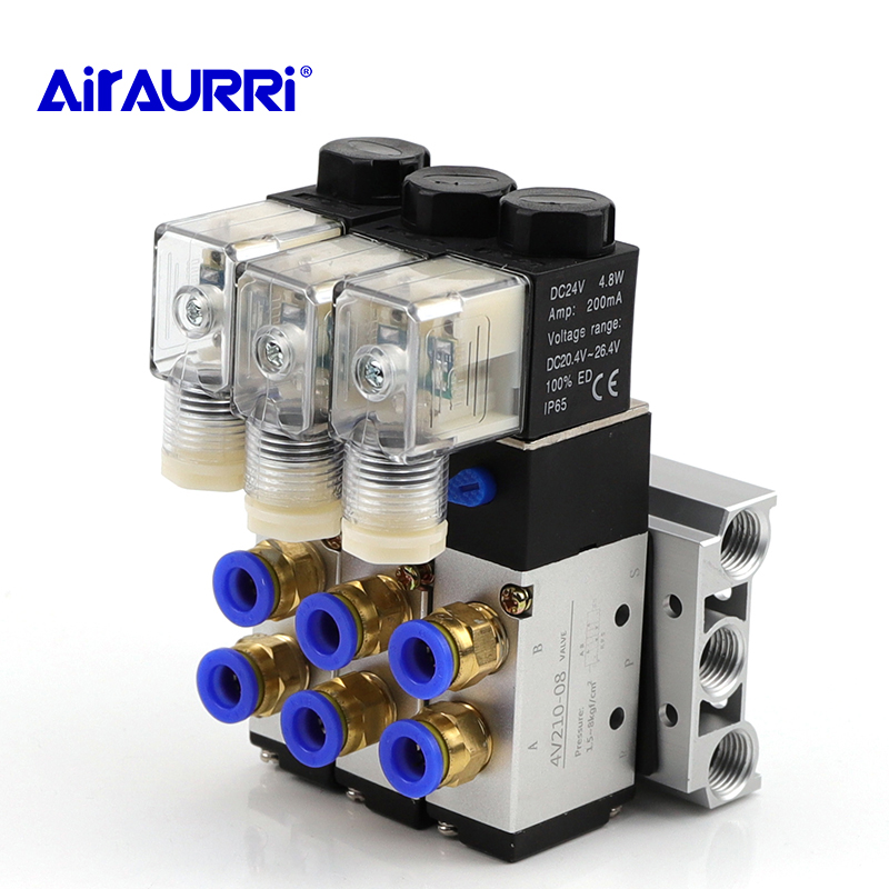 Где купить 2-позиционный 5-позиционный Четырехместный соленоид 4V210-08 DC24V клапан алюминиевый базовый фитинг набор глушителей 5 станций