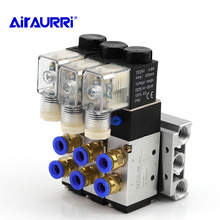 2 Positions 5 Way Quadruple Solenoid 4V210-08 DC24V  Valve Aluminum Base Fitting Mufflers Set 5 Stations