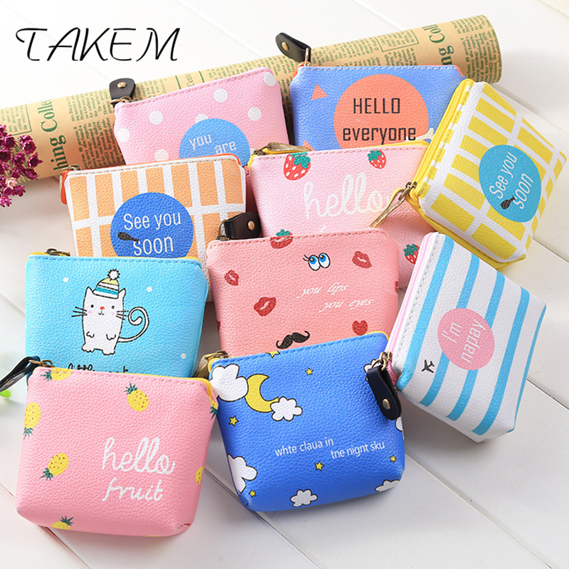 TAKEM 2018New classic Print coin purse woman printing wallet square Zipper coins bag wallet pouch Short Holder Vintage wallet thinkthendo 3 color retro women lady purse zipper small wallet coin key holder case pouch bag new design