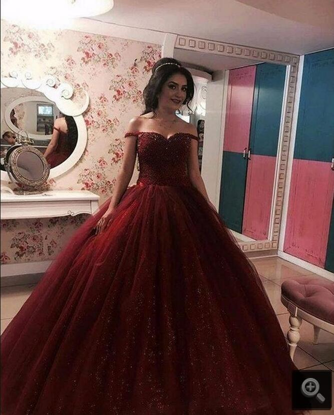 Real picture ball gown off the shoulder burgundy   prom     dress   sweetheart neck beading sequins   prom   gowns hot sale