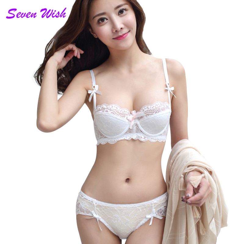 Sexy lace side of the reception of half a cup of underwear aesthetic comfort breathable thin cotton   bra     set