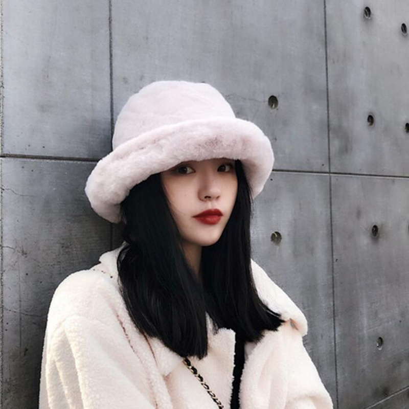 8d42765fcf9ff0 Detail Feedback Questions about Winter Women Flat Top Cap Fur Thick Warm  Bucket Hats Casual Solid Color Ladies Fur Winter All Matched Warm Walking  Hat on ...