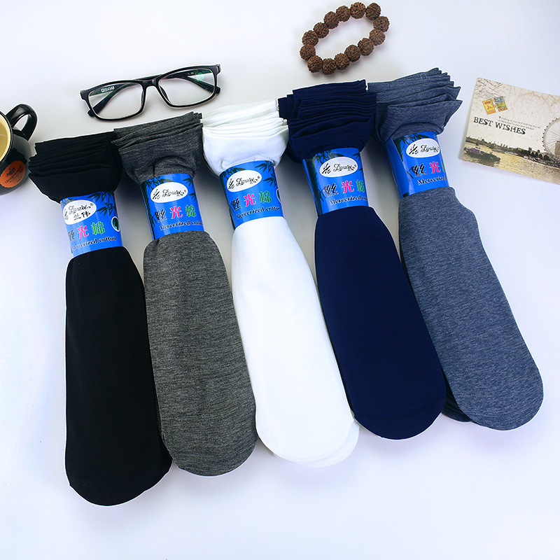 5 Pair High Quality Men Velvet Socks Summer Thin Silk High Elastic Nylon Low Price Cool Feeling Solid Color Breathable Socks