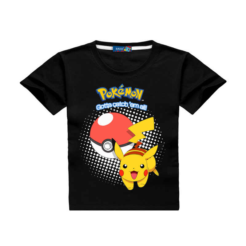 a2dfa1761a3 ... Summer Children Short Sleeve T-Shirts Kids Cotton Cartoon Pokemon Go  Print Boys Girl Tops ...