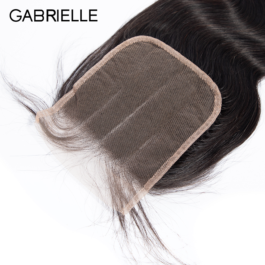 Gabrielle Remy Hair 5x5 Lace Closure Brazilian Body Wave Hair Natural Color 8-22 Inch Human Hair Free/Middle/Three Part Closure