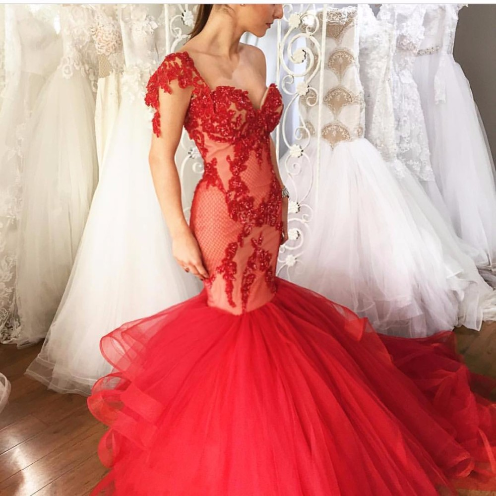 Cheap Red Sexy Sweetheart   Prom     Dresses   Sequins Lace Tulle Mermaid Long Formal Evening   Dress   2018 Custom Made