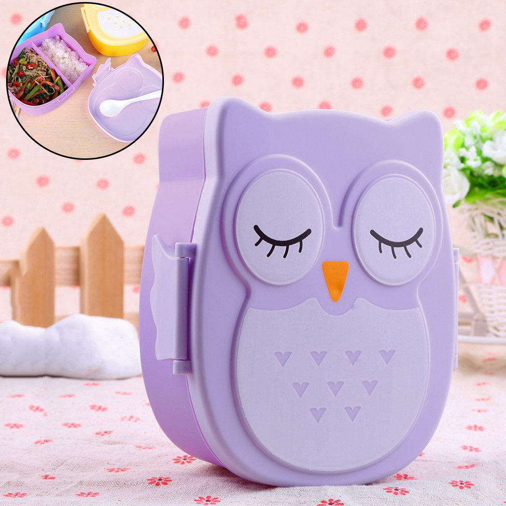 Plastic Cartoon Owl Bento Box 2 Grid Microwave Food Fruit Storage Container Portable Picnic Lunch Dinnerware Sets Clearance Sale