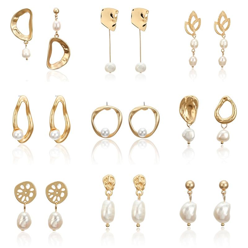 F35 Vintage Irregular Freshwater Pearl Dangle Earrings For Women Brincos Geometric Drop Earring DIY Wedding Party Jewelry Gift