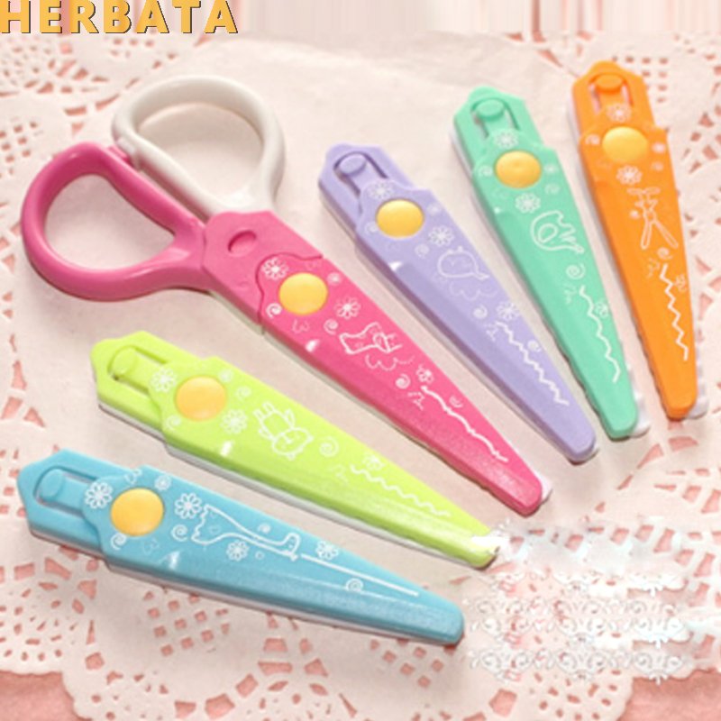 Free Shipping DIY Cute Kawaii Plastic Lace Scissors For Paper Cutter Scrapbooking Kids Office School Supplies Korean Stationery