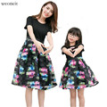 WEONEIT Mother Daughter Dresses New Summer Family Printed Dresses Mummy Daughter Girl Dress Kids Girls Party Dress