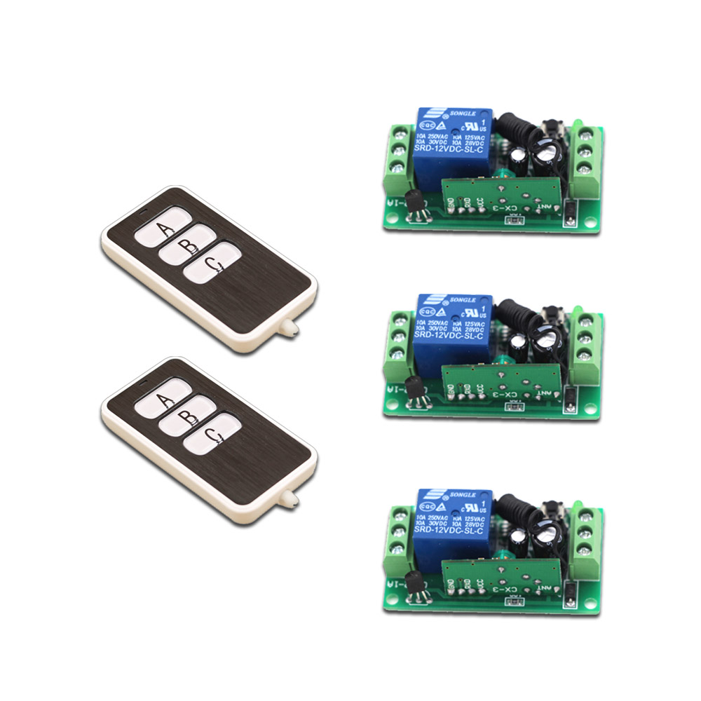 New DC9V 12V 24V Smart Home Remote Controller Wireless Universal Switch 2Transmitter +3Receiver with A B C Key Free Shipping