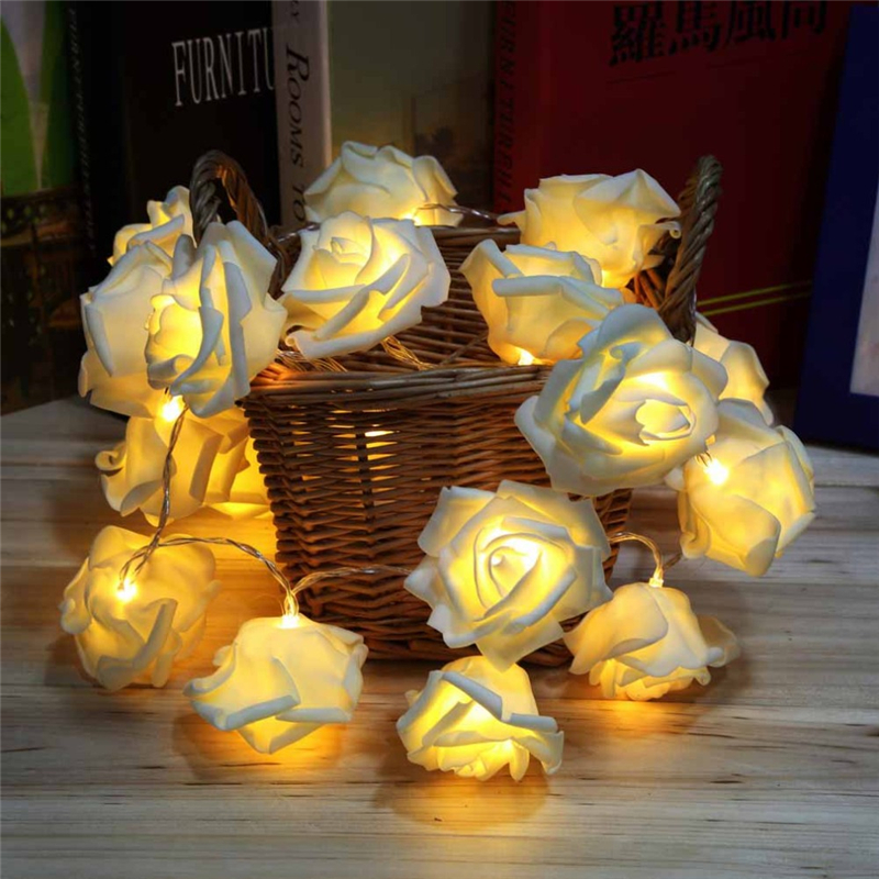 Zasilanie bateryjne Nowość Rose Flower Fairy String Lights Lampa LED 2M 2M Holiday Wedding Wedding Party Christmas Decoration