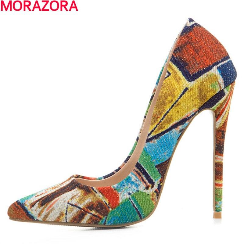 MORAZORA 2018 new arrive unique spring women pumps shoes cloth Shallow mouth high heels party shoes single shoe big size 34-43