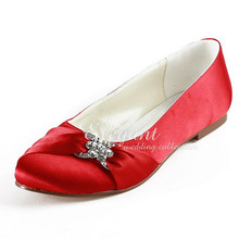Fashion Woman Wedding Ballets EP2006 Red Round Toe Rhinestone Bridal Flats Satin Bride Bridesmaid Evening Dress Wedding Shoes