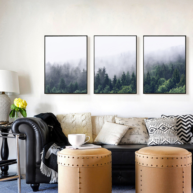 Misty Forest Mist Mountain Photography Fog Photo Landscape Poster Nordic Prints Minimalist Wall Art Wilderness In Painting Calligraphy From