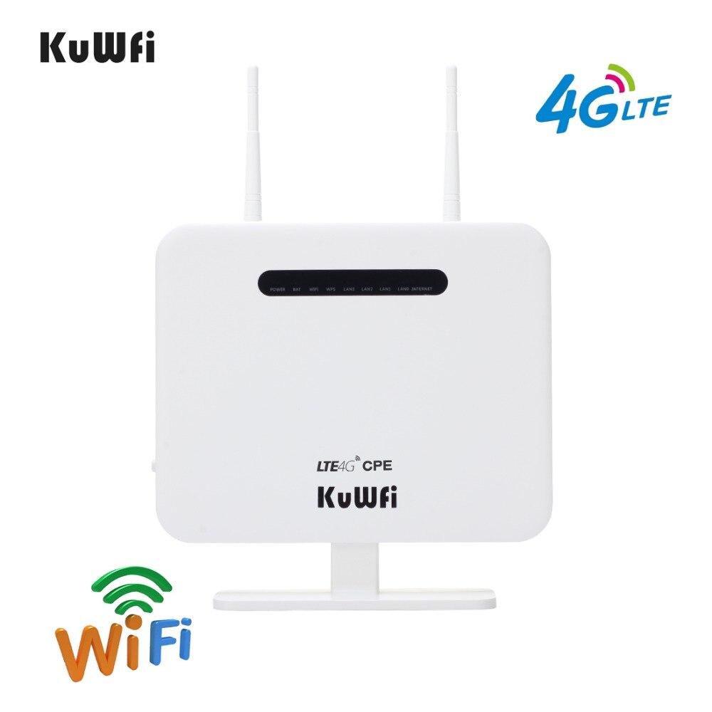 KuWFi Débloqué 300 Mbps 4G CPE Routeur 3G 4G Sans Fil Mode Standard Sans Fil Modem AP LTE Routeur avec Carte SIM Solt 5Dbi Antennes