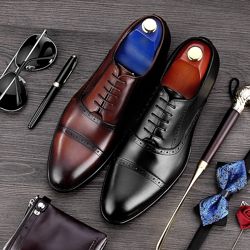 Vintage Handmade Man Carved Brogue Shoes Genuine Leather Formal Dress Wedding Oxfords Round Toe Men's Party Prom Flats MG82 luxury formal dress man carved brogue shoes genuine leather round toe men s oxfords handmade wedding party footwear js88