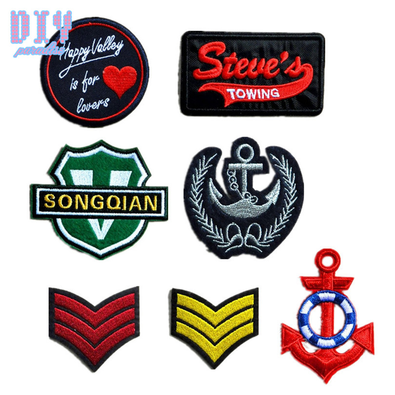 20pcs diy maple anchor iron on patches badge letters embroidered sew applique bag clothing shoes fabric