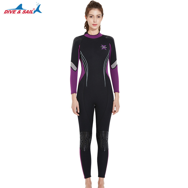 DIVE&SAIL 3MM Neoprene Long Sleeve Diving Suit Women Swiming Surfing Diving Equipment Anti-Jellyfish Spearfishing Wetsuits Cloth