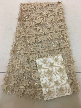 Fashion Beaded And Sequins African Bridal Lace Fabric 2018 High Quality Lace Material 3D French Lace Applique For Nigerian Dress
