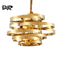 Post Modern Chandelier Lighting Gold Stainless Steel Art Deco Tornado Pendant Chandeliers For Livng Dining Room