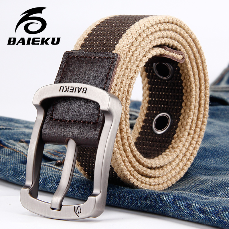 MAN'S CANVAS BELT Designer Belts Men High Quality FOR Men's Jeans Female 2018 Casual Fashion Tactical Belt 105-140cm Pin Buckle