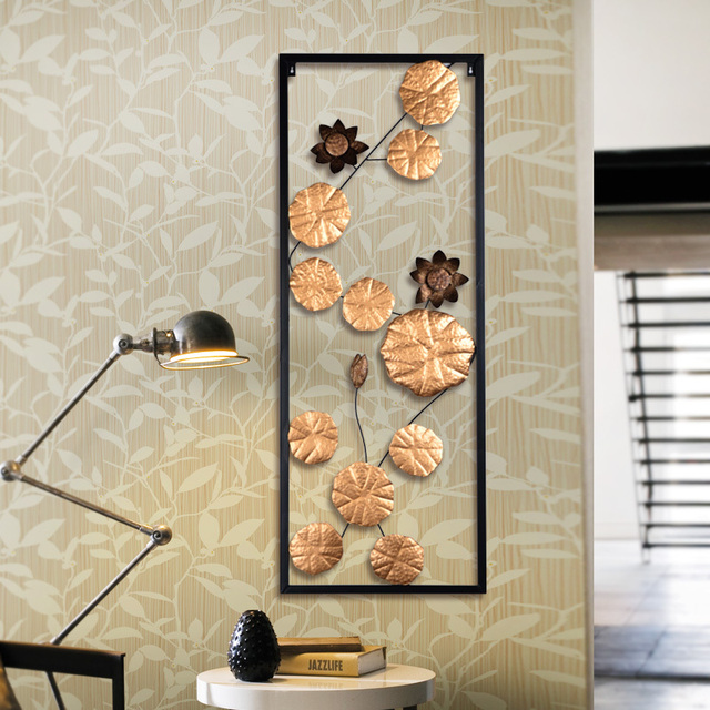 Iron decorative wall hanging decoration creativity soft lotus leaf ...