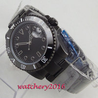 40mm Bliger Black Dial Sapphire Glass PVD Coated Ceramic Bezel Deployment Clasp Automatic Movement men's Watch